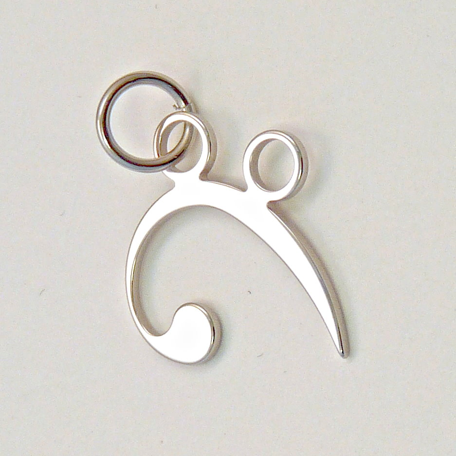 Bass clef pendant stainless steel jewellery for musicians bass clef pendant stainless steel aloadofball Images