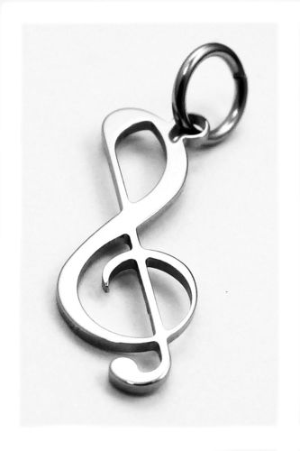 treble clef pendant stainless steel 20x8x0,8mm