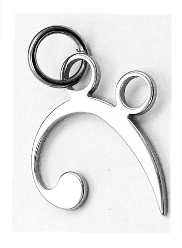 bass clef pendant stainless steel