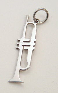 trumpet pendant stainless steel 25x6x0,8mm