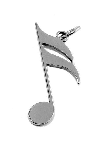 16th note pendant stainless steel 17x9x0,8mm