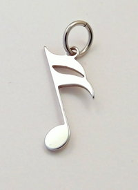 16th note pendant stainless steel 25x13x0,8mm