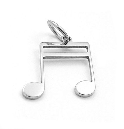 double 16th note pendant stainless steel